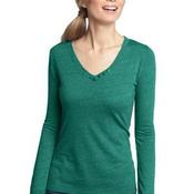 ™ Ladies Textured Long Sleeve V Neck with Button Detail