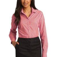 Ladies Long Sleeve Gingham Easy Care Shirt Thumbnail